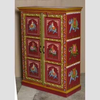 k74 3 indian furniture cabinet hand painted red elephant main
