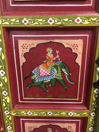 k74 3 indian furniture cabinet hand painted red elephant close ele 2