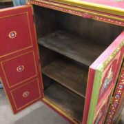 k74 3 indian furniture cabinet hand painted red elephant open