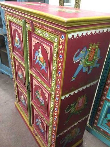 k74 3 indian furniture cabinet hand painted red elephant right