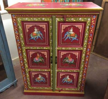 k74 3 indian furniture cabinet hand painted red elephant front