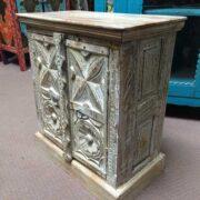 k74 3299 indian furniture bedside cabinet white carved right