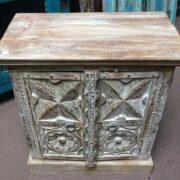 k74 3299 indian furniture bedside cabinet white carved top