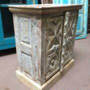 k74 3299 indian furniture bedside cabinet white carved left