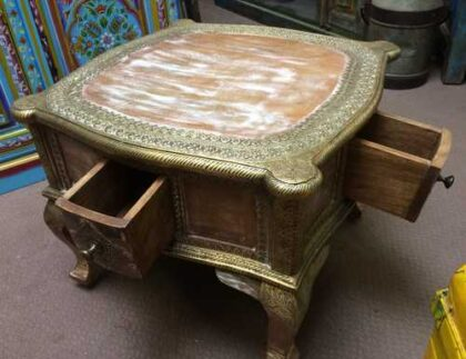 k74 61 indian furniture coffee table unusual 4 side drawers open