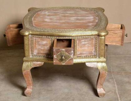 k74 61 indian furniture coffee table unusual 4 side drawers all open