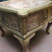 k74 61 indian furniture coffee table unusual 4 side drawers corner