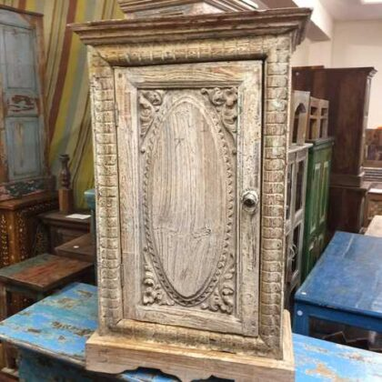 k74 78 indian furniture small old cabinet carved door front