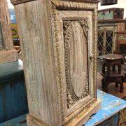 k74 78 indian furniture small old cabinet carved door left