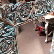 k74 97 indian furniture mirror carved blue close left