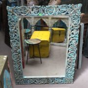 k74 97 indian furniture mirror carved blue close front
