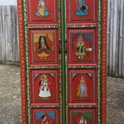 K74 13 indian furniture cabinet red hand painted tall front