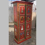 K74 13 indian furniture cabinet red hand painted tall main